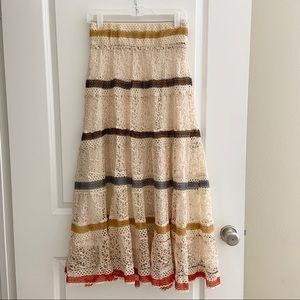 LAPIS Anthro Mustard Brown Crochet Skirt boho